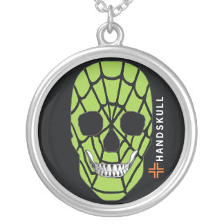 HANDSKULL Web Green,Happy skull,Web Green flag Silver Plated Necklace