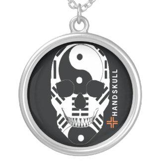 HANDSKULL Ying Yang,Happy skull,Ying Yang flag Round Pendant Necklace