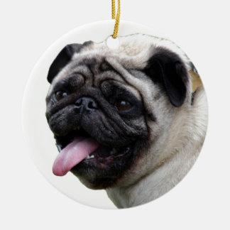 Handsom white Pug photo accessories, add names Ceramic Ornament