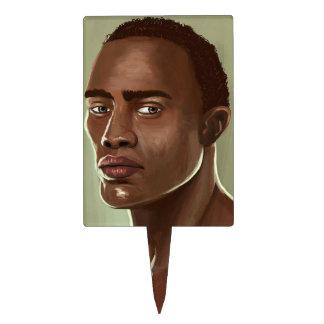 Handsome African man İllustration cakepick Rectangle Cake Topper