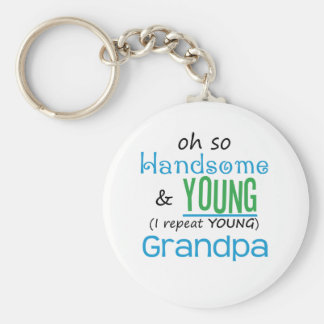 Handsome and Young Grandpa Basic Round Button Keychain