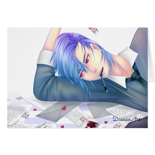 handsome anime boy dreaming of love greeting card