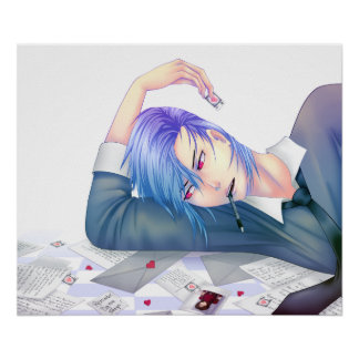 handsome anime boy dreaming of love poster