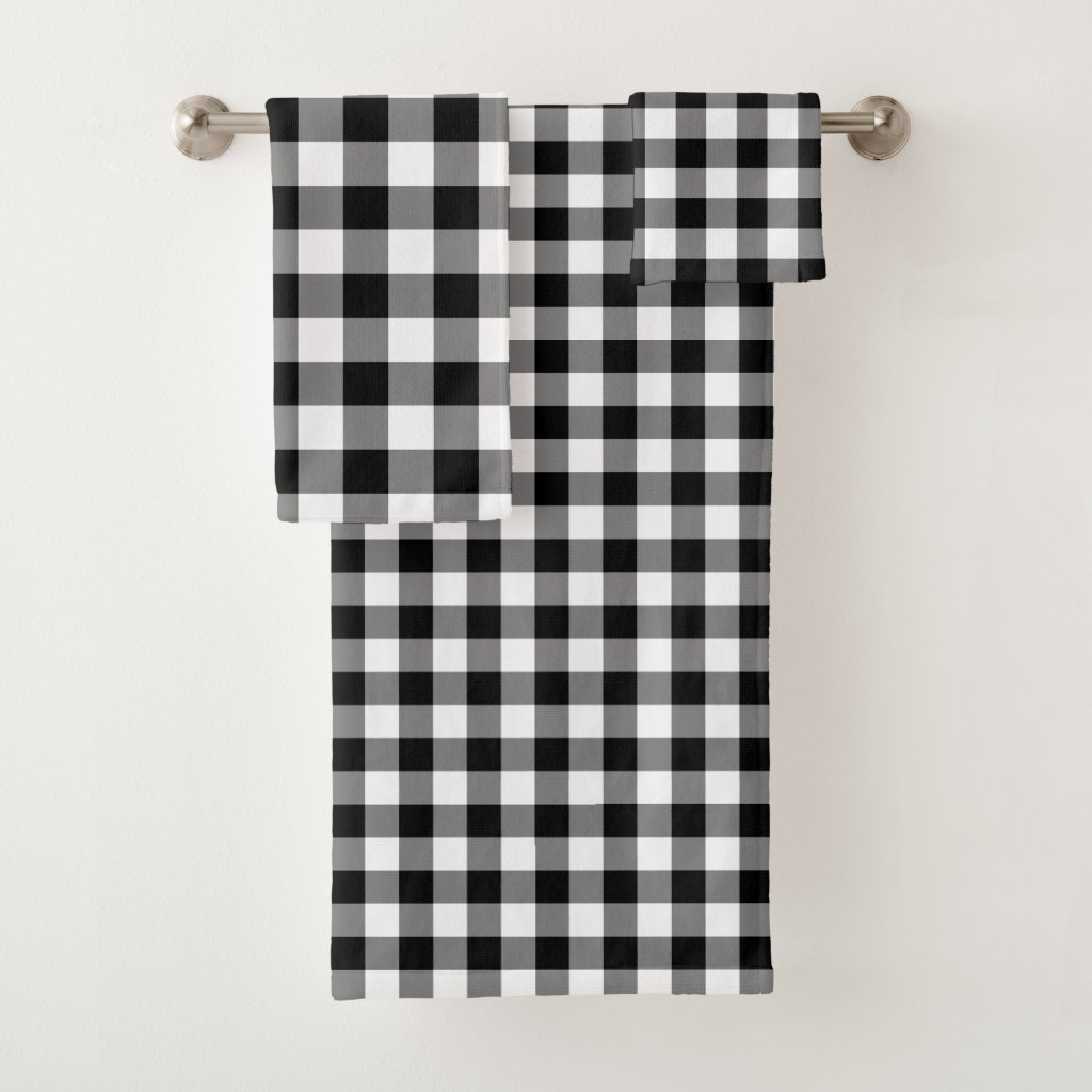Handsome Black and White Gingham Pattern Towel Set