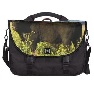 Handsome Black Bull in Sunflowers Western Laptop Bag