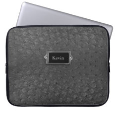 Handsome Black Faux Ostrich Skin Leather Laptop Sleeve at Zazzle