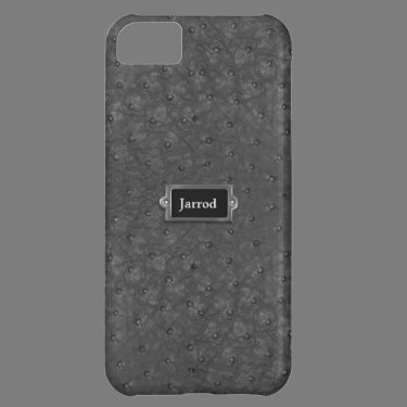 Handsome Black Ostrich Leather Look Cover For iPhone 5C