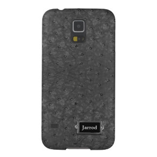 Handsome Black Ostrich Leather Look Galaxy S5 Cover