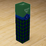 """Handsome Black Watch Plaid Custom Wine Box<br><div class=""""desc"""">Stylish green and blue plaid wine gift box done in the traditional Scottish Black Watch tartan pattern, with a solid green, on the top third half of the box. Graphics of a blue ribbon, runs under the green top, of the box, with a blue wax looking seal, on the front...</div>"""