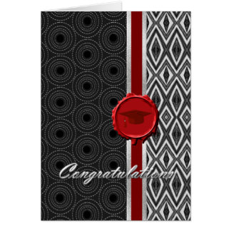 Handsome Black, White, & Red Guy's Graduation Card