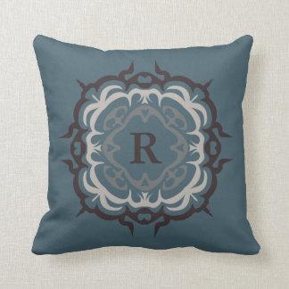 Handsome Blue Brown Tan Flourish Monogram Pillow