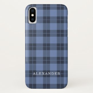 Handsome Blue Plaid Pattern Custom Name iPhone XS Case