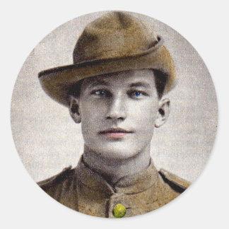 handsome Boer War soldier Classic Round Sticker