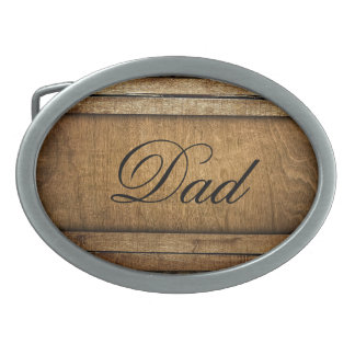 Handsome Brown Carved Wood Dad Father's Day Belt Buckle