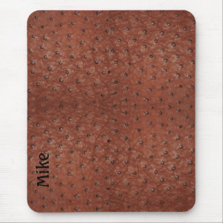 Handsome Brown Ostrich Leather Look Mouse Pad
