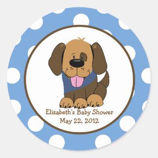 Handsome Brown Puppy Baby Shower Favor Sticker