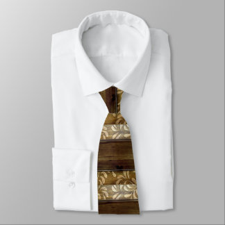 Handsome Brown Scrolled Wood Dad Father's Day Tie