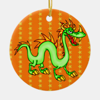 Handsome Chinese Dragon Double-Sided Ceramic Round Christmas Ornament