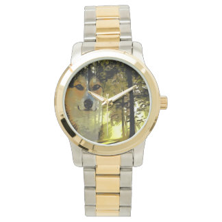 Handsome Corgi in the Woods Wristwatch