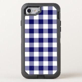 Handsome Dark Blue and White Buffalo Plaid OtterBox Defender iPhone 7 Case