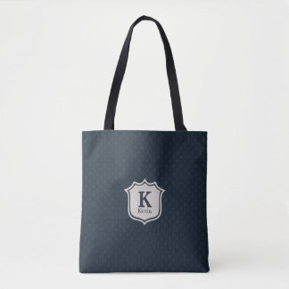 Handsome Dark Navy Blue Pattern Men's Monogram Tote Bag