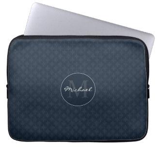 Handsome Dark Navy Blue Personalized Monogram Laptop Sleeves