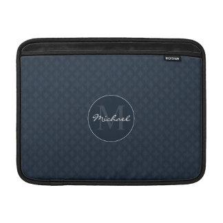 Handsome Dark Navy Blue Personalized Monogram Sleeve For MacBook Air