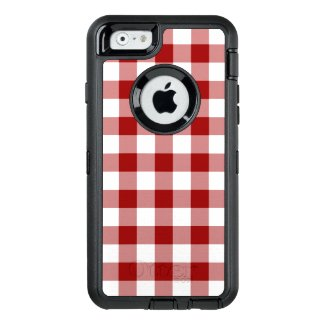 Handsome Dark Red and White Checked Pattern OtterBox iPhone 6/6s Case