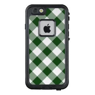 Handsome Diagonal Green and White Checked Plaid LifeProof® FRĒ® iPhone 6/6s Case