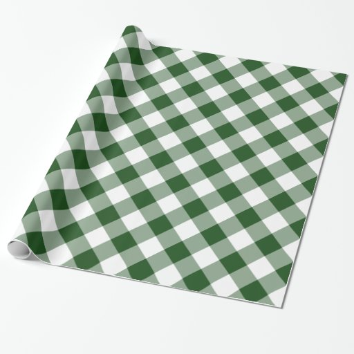 Handsome Diagonal Green and White Gingham Plaid Wrapping Paper