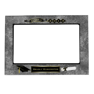 Handsome Gray Granite Look Graduation Photo Magnetic Frame
