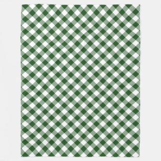 Handsome Green and White Diagonal Gingham Plaid Fleece Blanket
