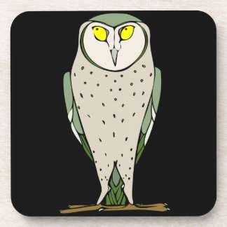 Handsome Green Owl on Black Beverage Coaster