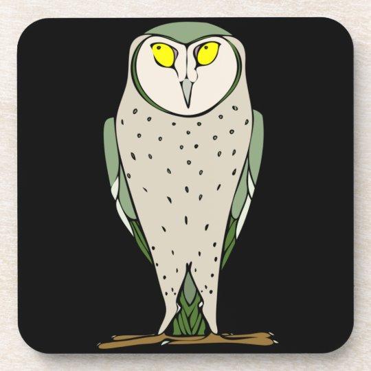 Handsome Green Owl on Black Beverage Coaster