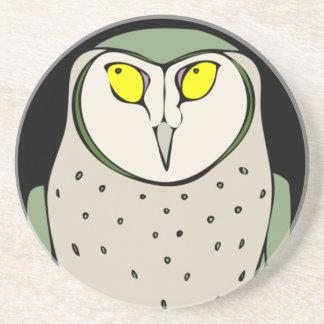 Handsome Green Owl on Black Coaster