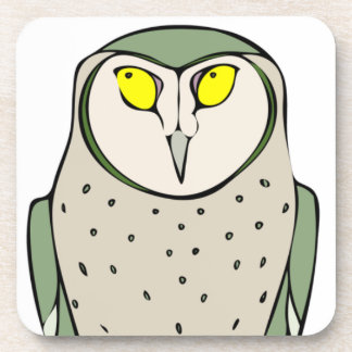Handsome Green Owl on White Coaster