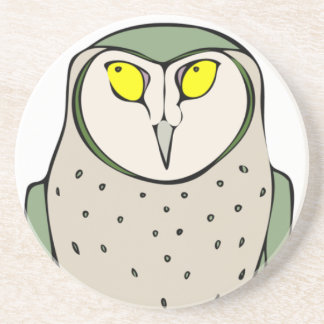 Handsome Green Owl on White Drink Coaster