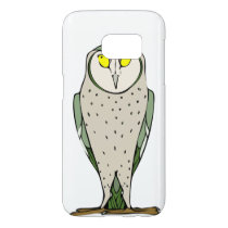 Handsome Green Owl on White Samsung Galaxy S7 Case