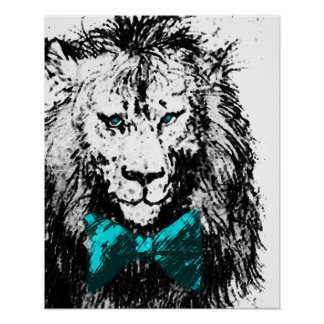 Handsome Lion with Blue Bow Tie and Eyes Poster