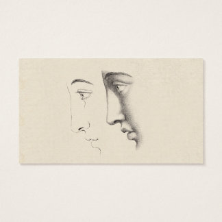 Handsome Man's Profile Antique French Engraving Business Card