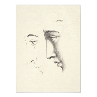 Handsome Man's Profile Antique French Engraving Card