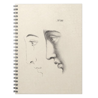 Handsome Man's Profile Antique French Engraving Journals