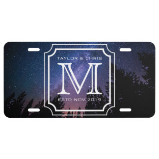 Handsome Monogram Beautiful Landscape Photo Simple License Plate