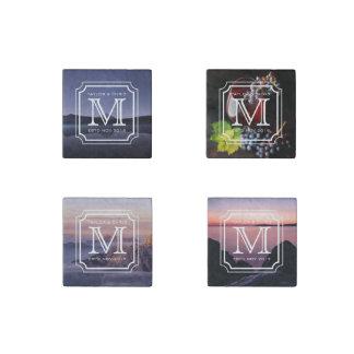 Handsome Monogram Beautiful Landscape Photo Simple Stone Magnet