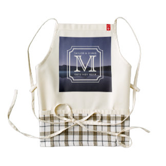 Handsome Monogram Beautiful Landscape Photo Simple Zazzle HEART Apron