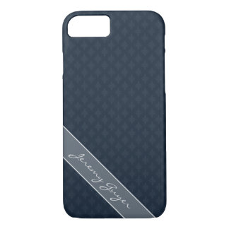 Handsome Navy Blue Masculine Personal Monogram iPhone 8/7 Case