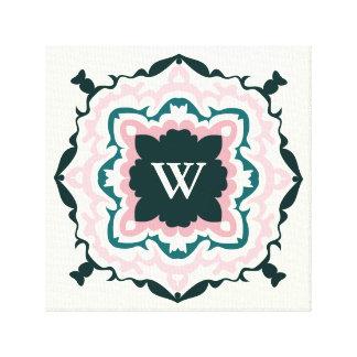 Handsome Pink and Ivory Flourish Monogram Canvas Print