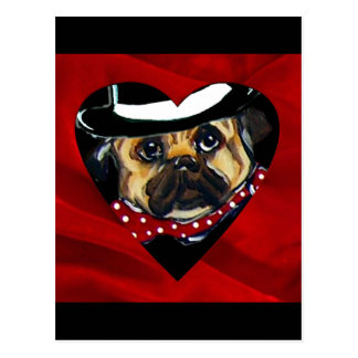 Handsome Pug Valentine Postcard