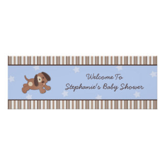 Handsome Puppy Baby Shower Banner Poster