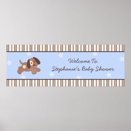 Handsome Puppy Baby Shower Banner Poster